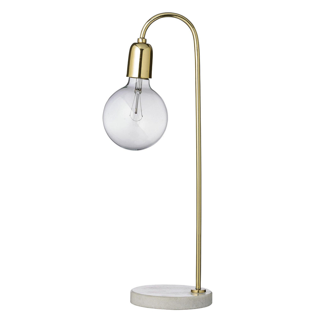 Bordlampe messing marmor