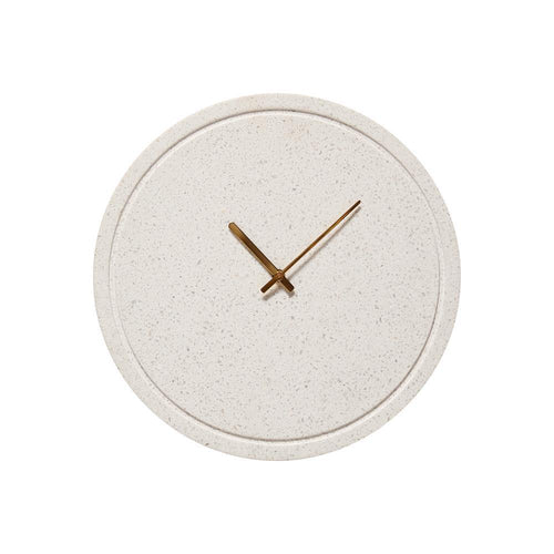 CLOCK FOR THE WALL, TERRAZZI, WHITE AND BRASS, Ø40