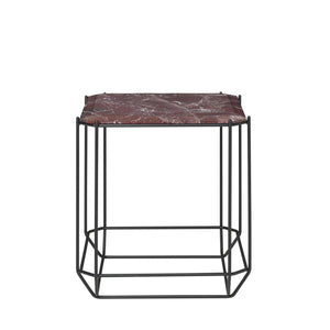 The jewel Side Table Marble, Bordeaux