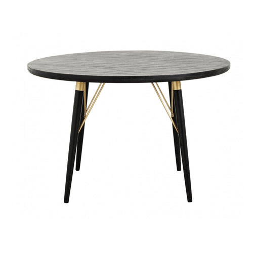 Round dining table, Black wood