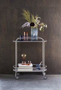 Trolley, glass/metal, grey