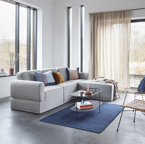 Modular sofa for 3 people w/pouf
