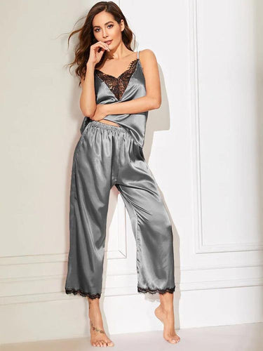 Satin pyjamas, v-neck
