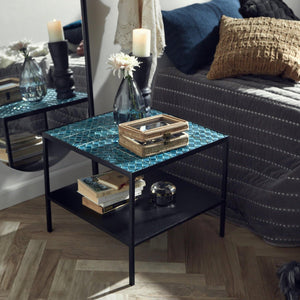 Aqua tile table, turquoise, black iron