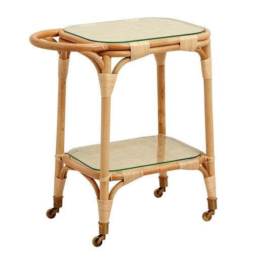 Rattan bar table w/brass wheels, glass
