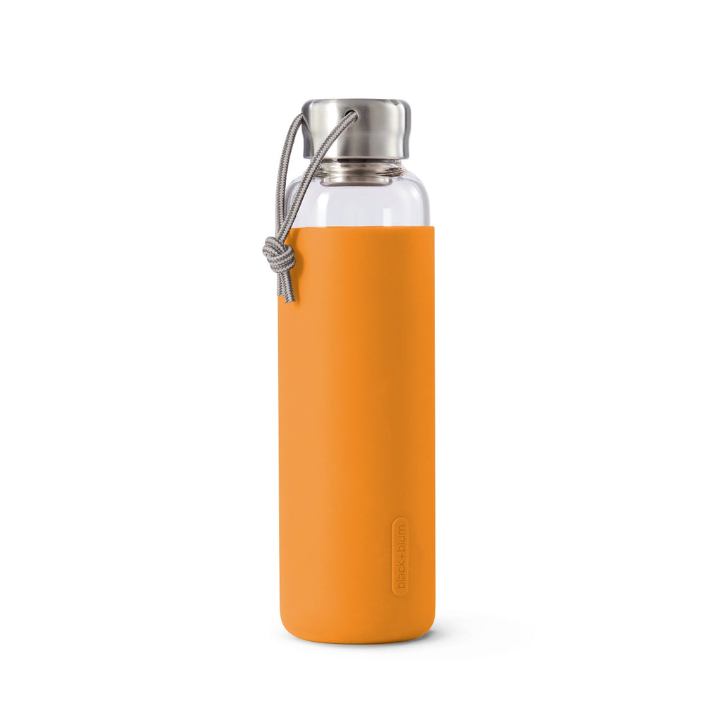 black+blum | Glas-Wasserflasche, Orange, 600 ml