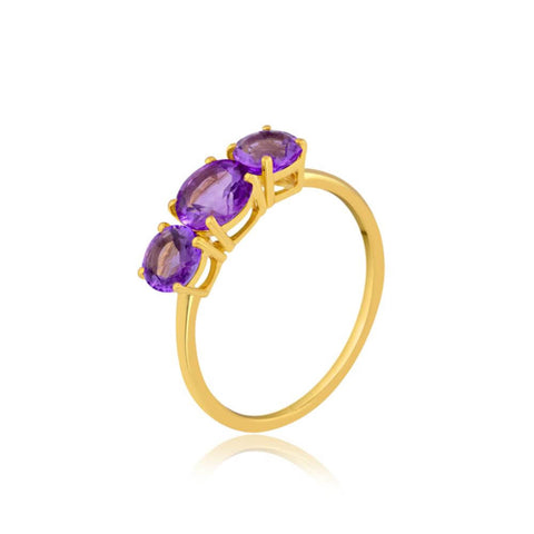 Amethyst Trio Gemstone Ring