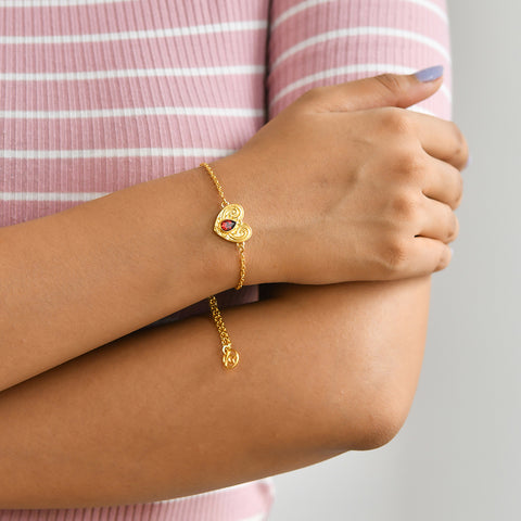 "Buy Online ""HEARTFUL LOVE"" SYMBOL BRACELET (Yellow Gold) At Talisman World."
