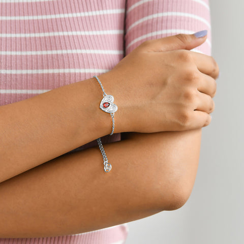 "Buy Online ""HEARTFUL LOVE"" SYMBOL BRACELET (Silver) At Talisman World."