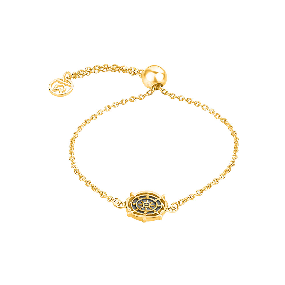 "Buy ""Wheel of Dharma"" Symbol Bracelet (18K Yellow Gold) Online At Talisman World"