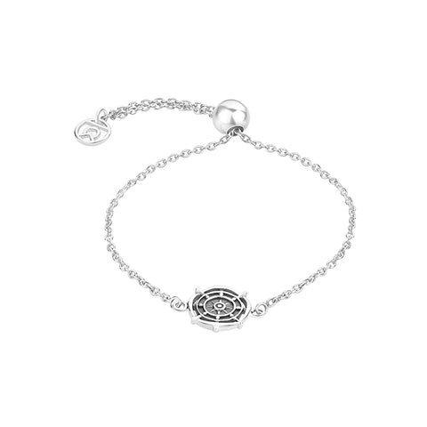 "Buy ""Wheel of Dharma"" Symbol Bracelet (Silver) At Talisman World"