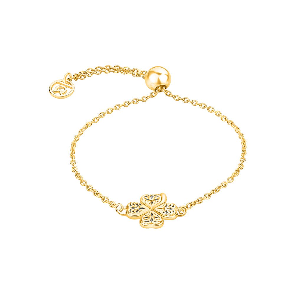 Buy Online Four Clover Leaf Symbol Bracelet (Yellow Gold) For Women In India