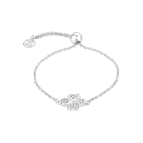 Buy Online Four Clover Leaf Symbol Bracelet (Silver) For Women In India