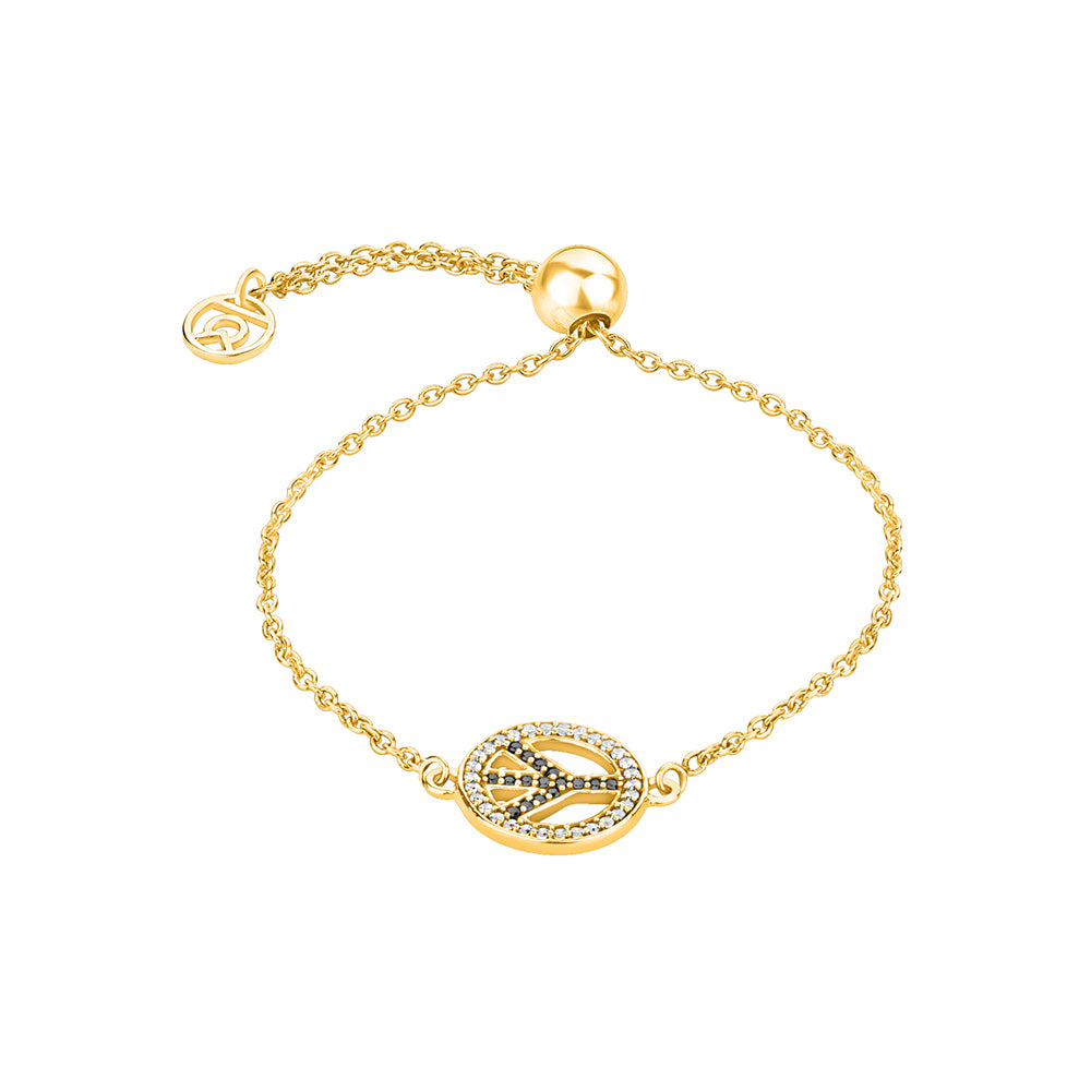 Buy Peace, Please! Symbol Bracelet(Yellow Gold) Online At Talisman World