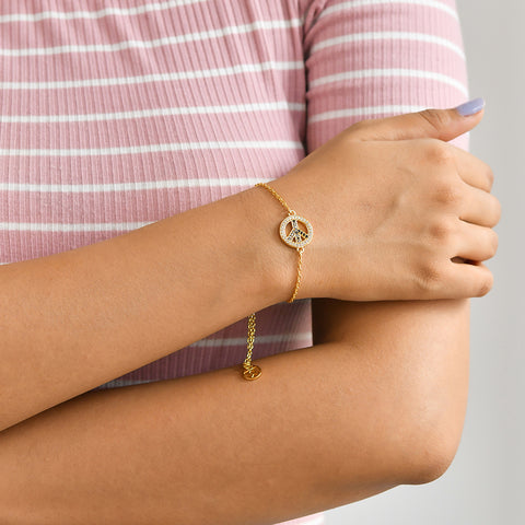 Buy Peace, Please! Symbol Bracelet(Yellow Gold) Online For Women In India