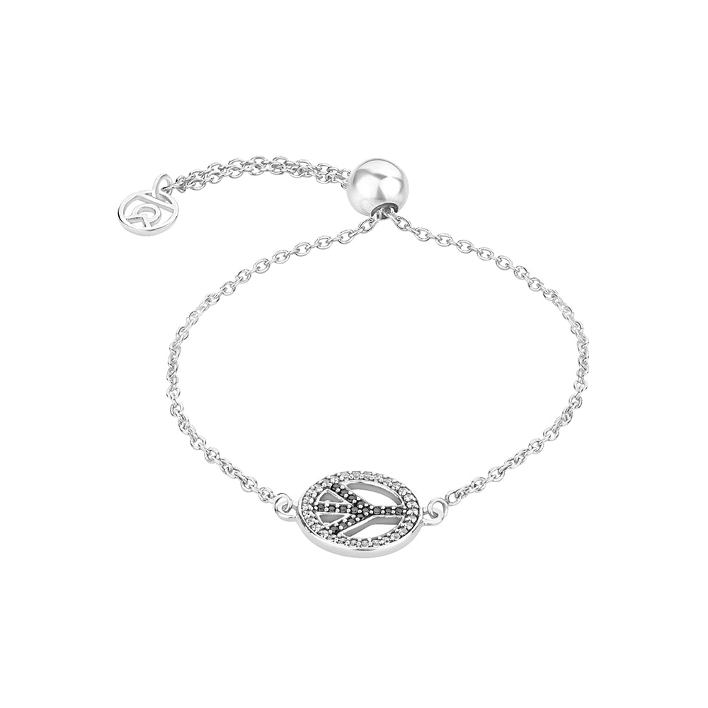 Buy Peace, Please! Symbol Bracelet(Silver) Online For Women In India