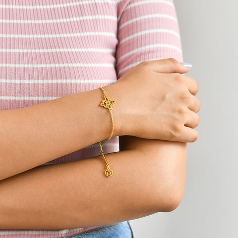 Buy Endless Knot Symbol Bracelet (Yellow Gold) For Women Online In India