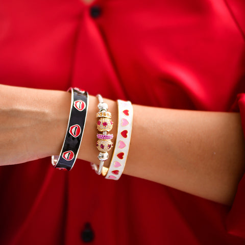 "Silver Bangles Online | Lip Smacking Enamel Bangle | ""9 to 9"" Office Wear 