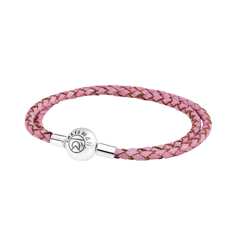 Essence Braided Leather Bracelet - Pink