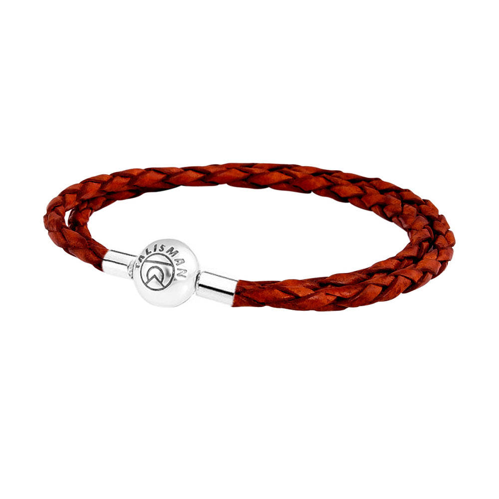 Essence Braided Leather Bracelet - Red