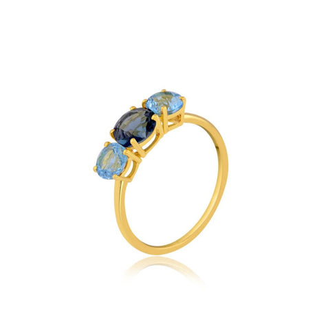Blue Topaz Trio Gemstone Ring