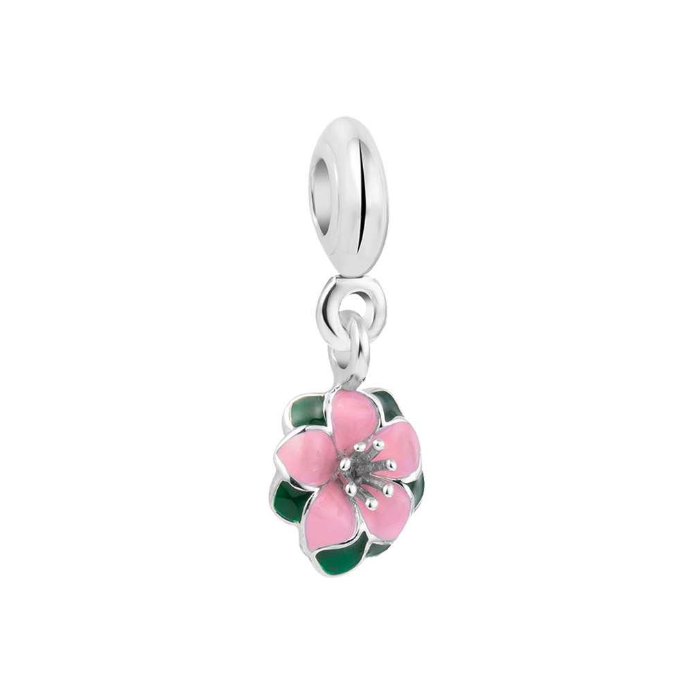 Camellia Charm - Silver Dangle Charms Online For Women in India