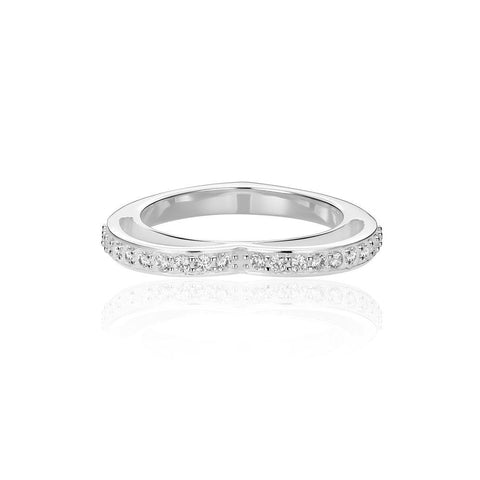 Sparkling White Pave' Eternity Heart Ring