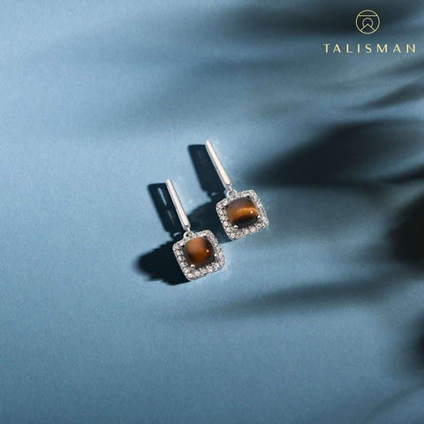 Buy Earrings Online | Tiger Eye Drop Earrings | Earrings | TALISMAN