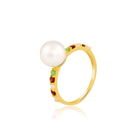 Multi-Colour Pearl Ring