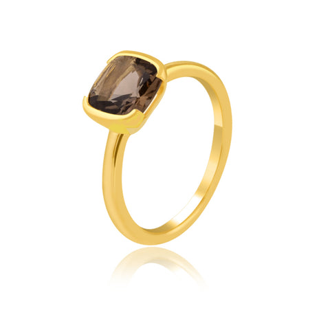 Half Bezel Smoky Quartz Ring