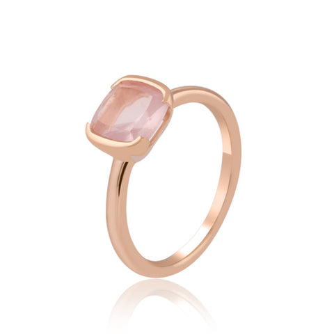 Half Bezel Rose Quartz Ring