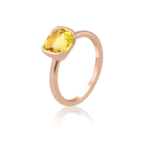 Half Bezel Lemon Quartz Ring