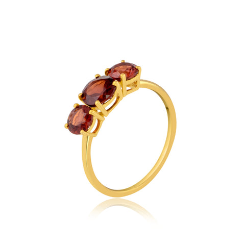 Garnet Trio Gemstone Ring