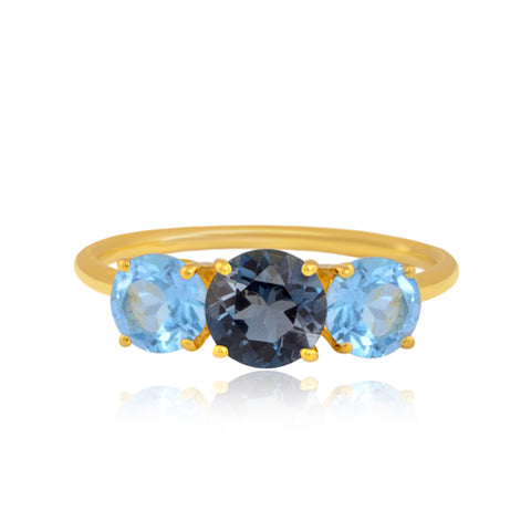 "Buy Gemstone Ring | Blue Topaz Trio Gemstone Ring | ""9 to 9"" Office Wear 