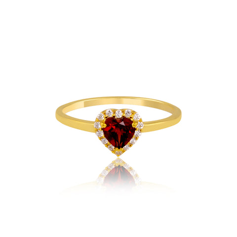 Heart-Shaped Garnet Ring