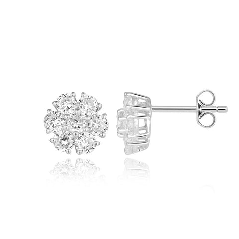 Buy White Silver Earrings Online In India