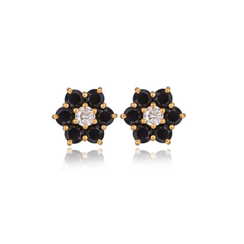 Six Stars Black Spinel Earrings