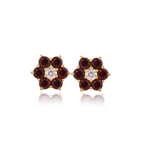 Six Star Garnet Earrings