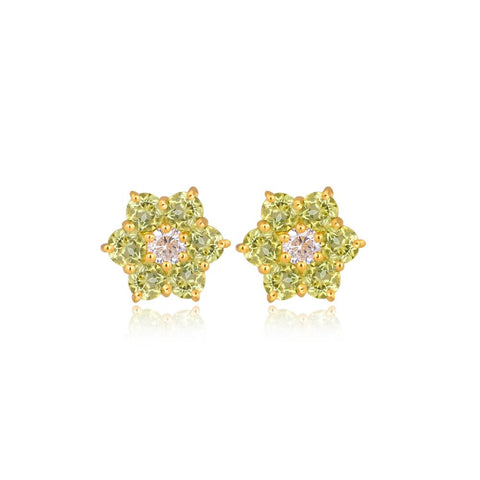 Six Star Peridot Earrings