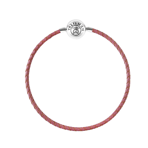 Essence Braided Leather Bracelet - Dusty Rose