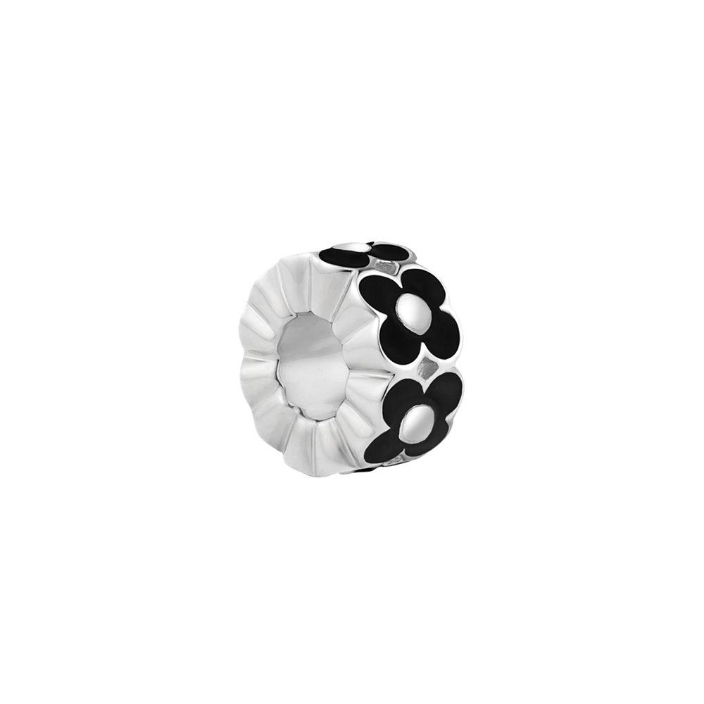 Black Enamel Flower Charm