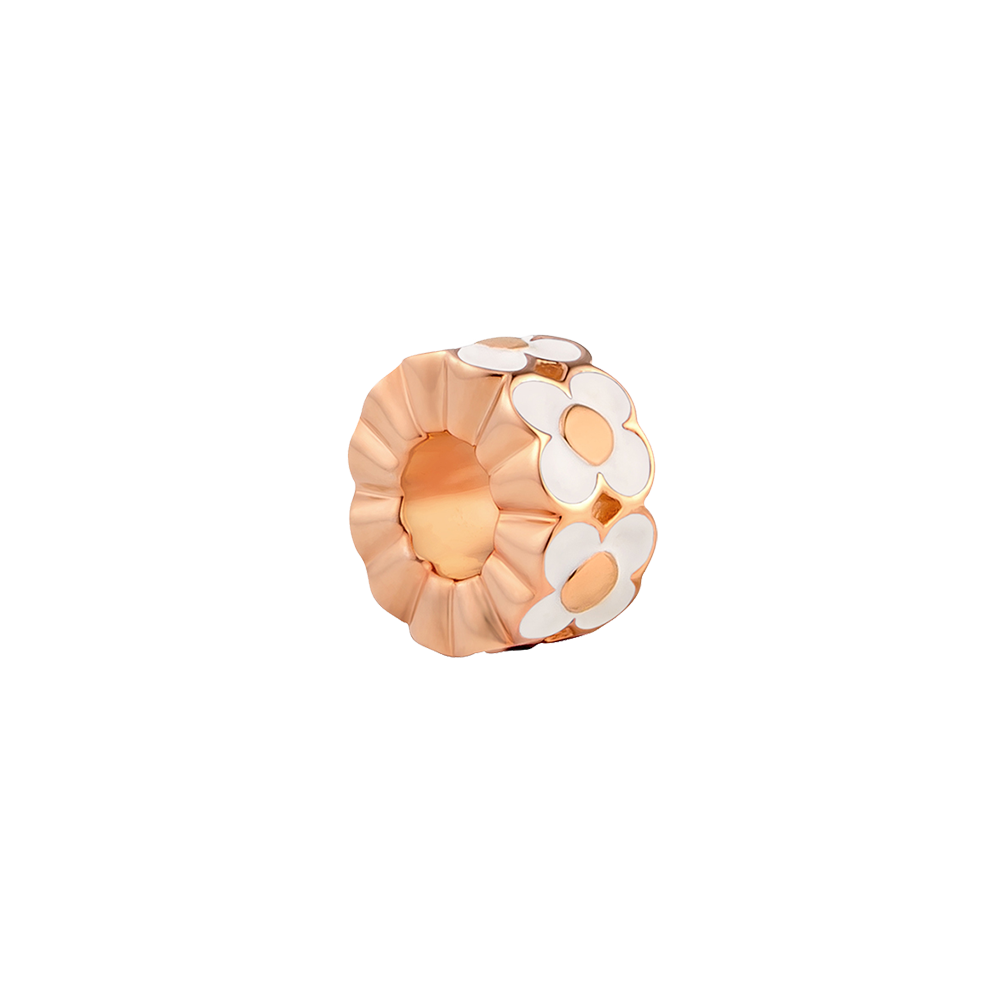 White Enamel Flower Charm