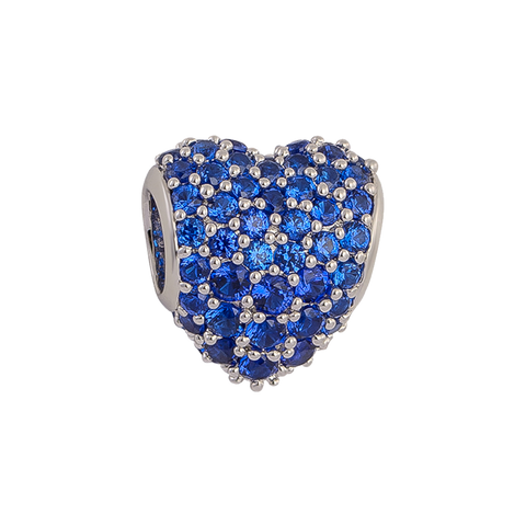 Blue Pavé Heart Charm,buy charms online in india,silver charms online,talisman world charms online