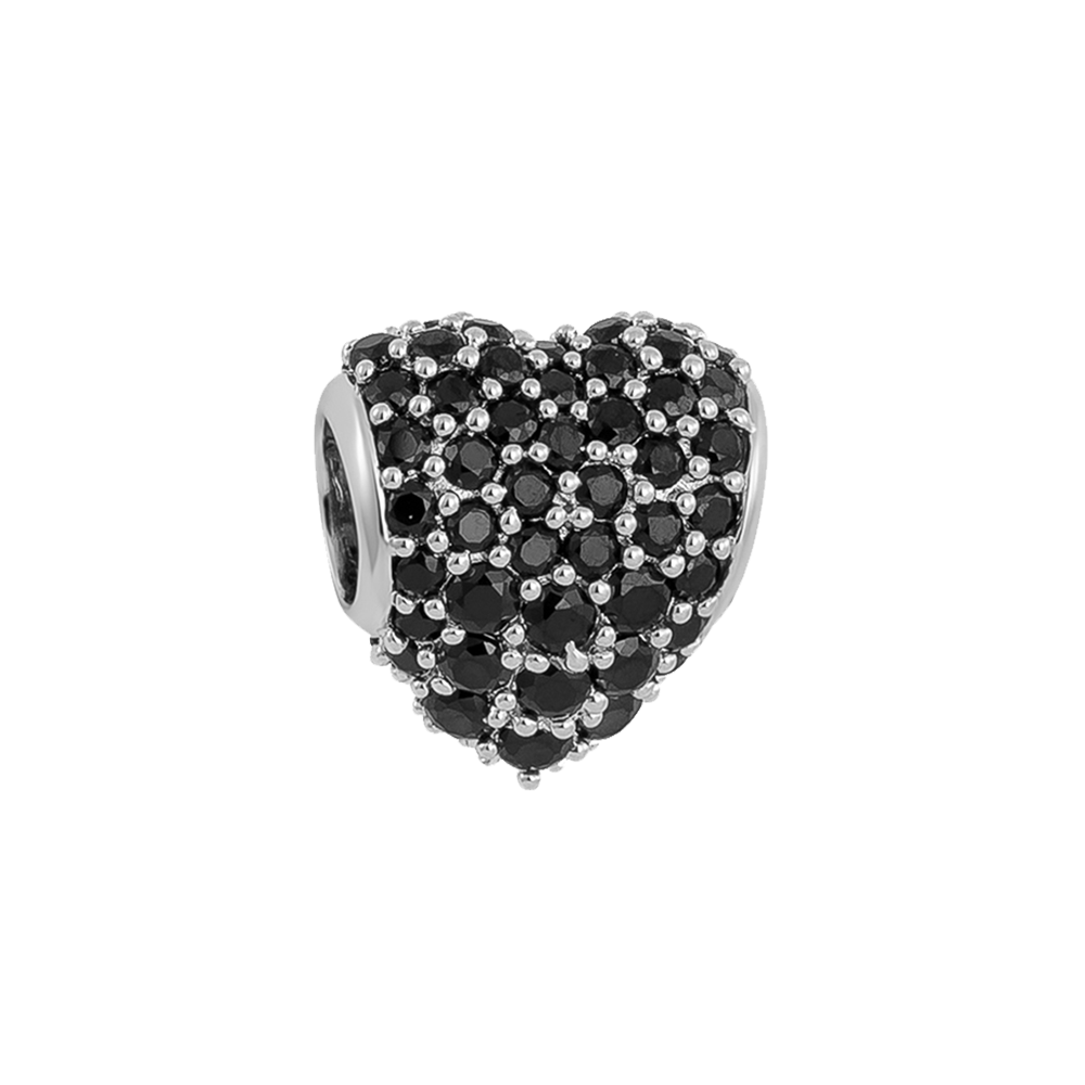Black Pavé Heart Charm