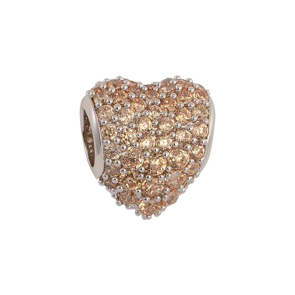 Brown Pavé Heart Charm,buy charms online in india,silver charms online,talisman world charms online