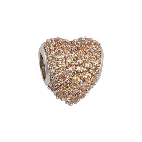 Brown Pavé Heart Charm