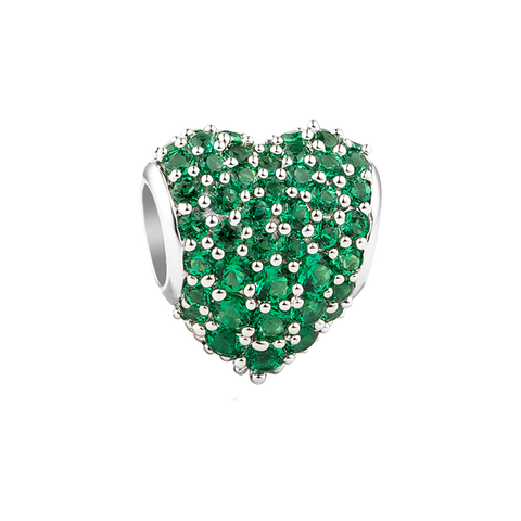Green Pavé Heart Charm,buy charms online in india,silver charms online,talisman world charms online