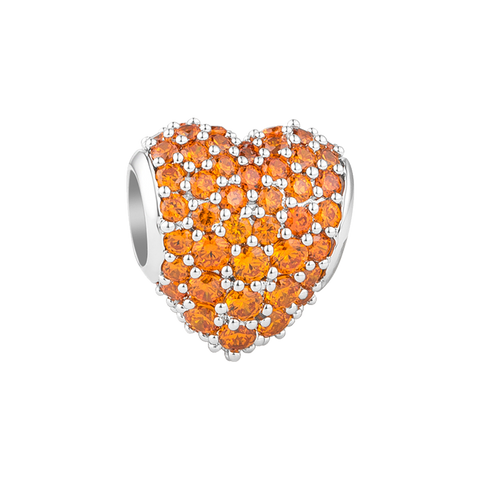 Orange Pavé Heart Charm,buy charms online in india,silver charms online,talisman world charms online