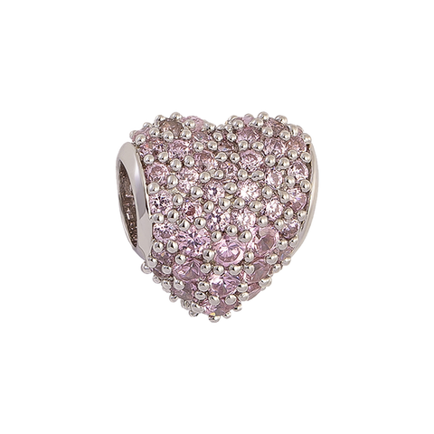 Pink Pavé Heart Charm,buy charms online in india,silver charms online,talisman world charms online