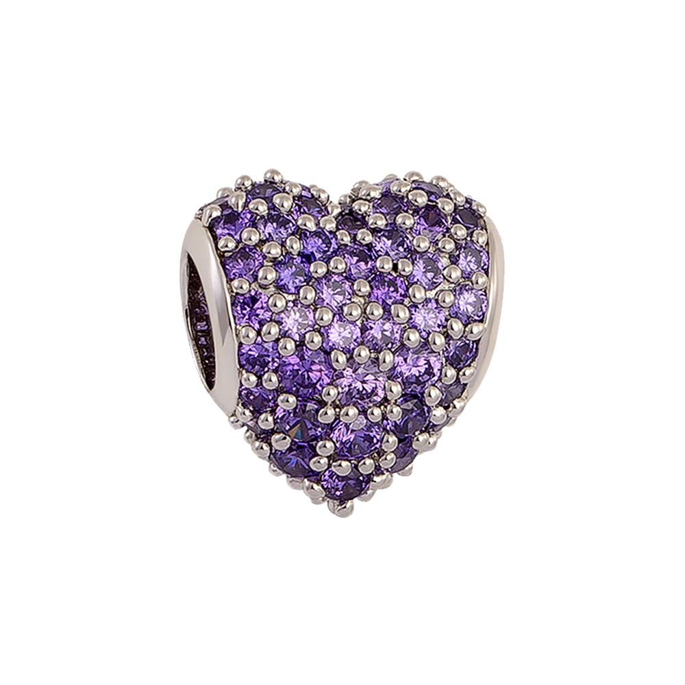 Purple Pavé Heart Charm,buy charms online in india,silver charms online,talisman world charms online